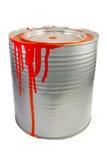 Tin van een rode verf stock afbeeldingen