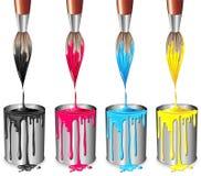 Tin van Verf en het Proces van borstel-Vier Kleur Royalty-vrije Stock Afbeelding