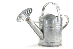 Tin watering can. On white background with room for text Stock Image