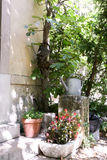 Tin watering can and plant pots with flowers on the steps. Of a village house in the summer garden stock images