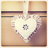 Tin  and wicker heart retro Royalty Free Stock Image