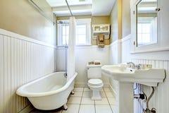 Tina del pie de la garra en el cuarto de baño blanco Foto de archivo libre de regalías