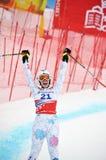 Tina felice Weirather sulla tazza di mondo alpina del pattino di FIS Immagini Stock Libere da Diritti