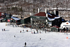 Free Tina Sutton Memorial - Slalom Ski Competition. Loon Mountain Lodge View From Lift Chair During Junior Ski Race. Royalty Free Stock Image - 65694656
