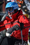 Tina Sutton Memorial - Slalom Ski Competition. Unidentified disabled skier attend to junior ski race Stock Photo