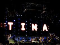 Tina Turner in tensione nel concerto di Praga Fotografia Stock