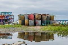 Tinas de la pesca después de un aguacero Fotos de archivo libres de regalías