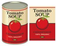 Tinblik met de soep van de etikettomaat Stock Foto's