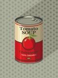 Tinblik met de soep van de etikettomaat Stock Fotografie