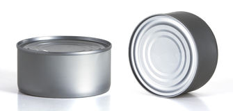 Tincan Conserve, Canned Food, Metal Tin Can. Over white background Stock Photography