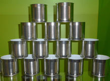 Tincans. Cans with Ribbed Walls on the Rack Stock Images