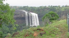 Tincha Water Fall of India-Indore. Beautiful Tincha Water Fall Flowing with Full Force. Monsoon Rain India stock video
