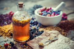 Tincture bottle, mortar of healing herbs and paper of recipes Royalty Free Stock Images