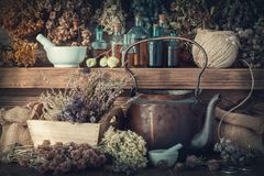 Tincture bottles, healthy herbs, mortar, curative drugs, old tea kettle on wooden shelf. Stock Photography