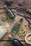 Tincture bottles, assortment of dry healthy herbs, mortar, sachet, scissors. Herbal medicine. Top view. Tincture bottles, assortment of dry healthy herbs Royalty Free Stock Images