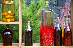Tincture bottles of lemon, currant, berries and rowanberries. Herbal medicine. royalty free stock images