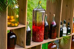 Tincture bottles of lemon, currant, berries and rowanberries. Herbal medicine. Spirits, wine and liqueur royalty free stock images