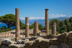 TINDARI ARCHAEOLOGY POLIS. Tindari Sicily, Italy - Tindari Sicily, Italy - Archaeological area of Tindari, the ancient greek polis founded in 396 AC by Dionysius Stock Photo