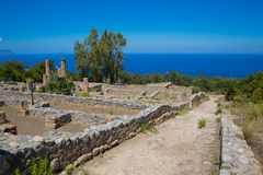 TINDARI ARCHAEOLOGY POLIS. Tindari Sicily, Italy - Tindari Sicily, Italy - Archaeological area of Tindari, the ancient greek polis founded in 396 AC by Dionysius Royalty Free Stock Images