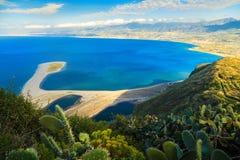 Tindari e a praia de Marinello Imagens de Stock