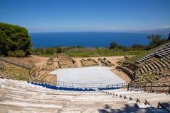 TINDARI GREEK THEATRE. Tindari Sicily, Italy - Archaeological area of Tindari, the ancient greek polis founded in 396 BC by Dionysius of Syracuse. The theatre Stock Photos