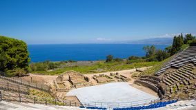 TINDARI GREEK THEATRE. Tindari Sicily, Italy - Archaeological area of Tindari, the ancient greek polis founded in 396 BC by Dionysius of Syracuse. The theatre Royalty Free Stock Photography