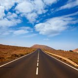 Tindaya road with mountain Fuerteventura Stock Images