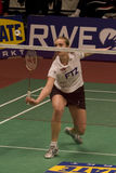 Tine Rasmussen. Top badminton player Tine Rasmussen playing a ladies singles match at the European team championships in Almere, the Netherlands, in 2008 Royalty Free Stock Photo