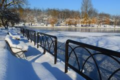 Tineretului-Park, Bukarest, Rumänien, Winterzeit Lizenzfreie Stockbilder