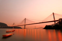 Ting Kau Bridge. Hong Kong night, Ting Kau Bridge Royalty Free Stock Photo