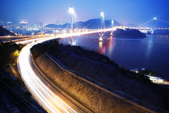 Ting Kau Bridge. In Hong Kong at night Stock Photography
