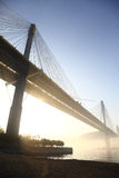 Ting Kau Bridge. Within sunrises and haze Stock Photo