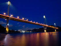 Ting Kau Bridge. The landscape of Ting Kau Bridge at night Stock Photo