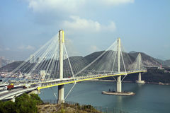 Ting Kau Bridge in Hong Kong.  Royalty Free Stock Photos