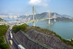 Ting Kau Bridge in Hong Kong Stock Photos