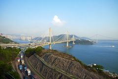 Ting Kau Bridge in Hong Kong Stock Photo