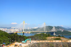 Ting Kau Bridge in Hong Kong at day Royalty Free Stock Images