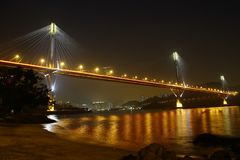 Free Ting Kau Bridge In Hong Kong - Across The Golden Color Sea Stock Image - 106486771
