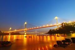 Ting Kau Bridge at night in Hong Kong Royalty Free Stock Photography