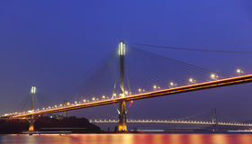 Ting Kau Bridge and Tsing ma Bridge at evening Stock Photo
