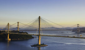 Ting Kau Bridge and Tsing Ma Bridge in Hong Kong Stock Photos