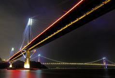 Ting Kau Bridge and Tsing ma Bridge at night Royalty Free Stock Image