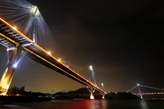 Ting Kau Bridge and Tsing ma Bridge at night Royalty Free Stock Images