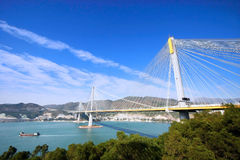 Ting Kau Bridge. View from Lantau Link Viewing Platform, Hong Kong Stock Photo