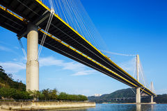 Ting Kau suspension bridge in Hong Kong. With clear blue sky Royalty Free Stock Image
