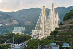 Ting Kau upphängningbro Arkivbild