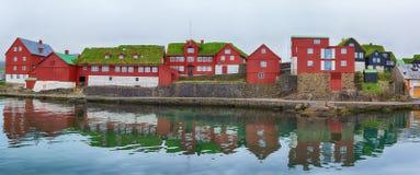Tinganes Torshavn, isole faroe Panorama fotografie stock