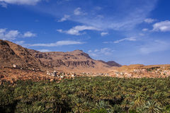 Tinghir I. Landscape view of the village over the palm trees, Tinghir, Morocco Royalty Free Stock Image