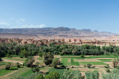 Tinghir in Morocco with green verdant valley Royalty Free Stock Photo
