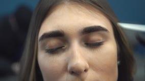 Tingidura da sobrancelha O mestre pinta as sobrancelhas com hena a uma menina bonita, pinta com uma escova no sal?o de beleza da filme